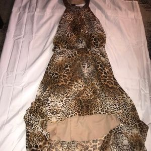 Hi-Lo Cheetah Halter Dress
